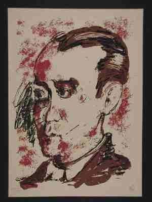 Sérigraphie Lüpertz - Portrait de Lorca