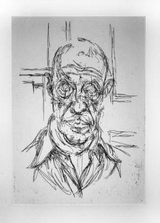 Gravure Giacometti - Portrait de Michel Leiris