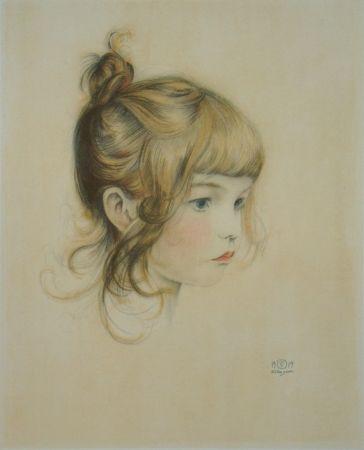 Lithographie Sauer - Portrait de Nicole