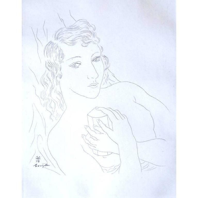 Lithographie Foujita - Portrait d'Isabey