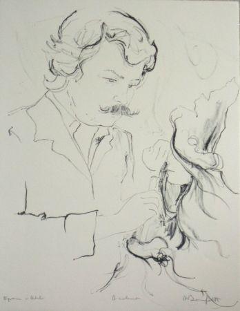 Lithographie Bonnefoit - Portrait du peintre jc quilici