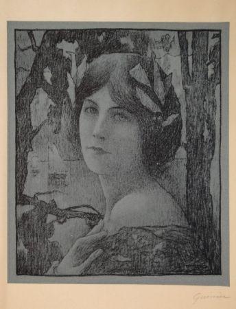Lithographie Guinier - (Portrait d'une jeune femme)
