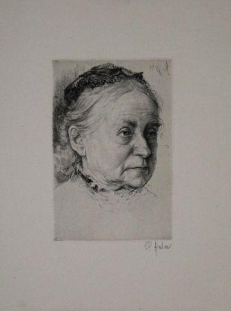 Gravure Halm - Portrait einer alten Dame