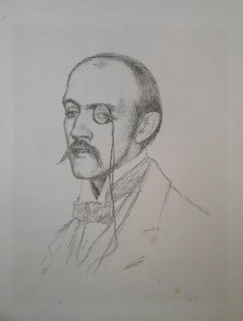 """Lithographie Rysselberghe - Portrait """"Henri de Regnier"""""""