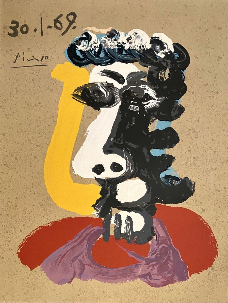 Lithographie Picasso - Portrait Imaginaires 30.1.69