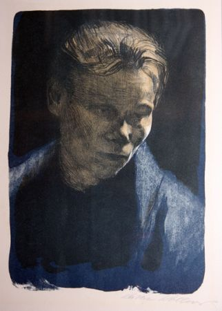 Lithographie Kollwitz - Portrait of working class woman with blue towel