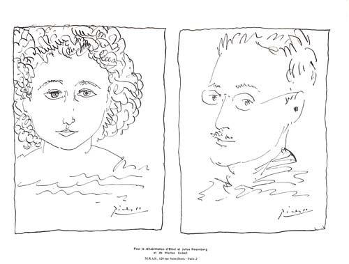 Lithographie Picasso - Pour La Rehabilitation de Ethel et Julius Rosenberg  et de Morton Sobel