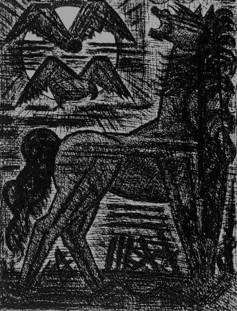 Eau-Forte Gromaire - Présage, cheval noir, et oiseaux de nuit