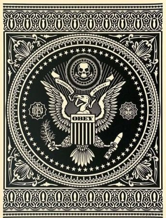 Sérigraphie Fairey - Presidential Seal Black