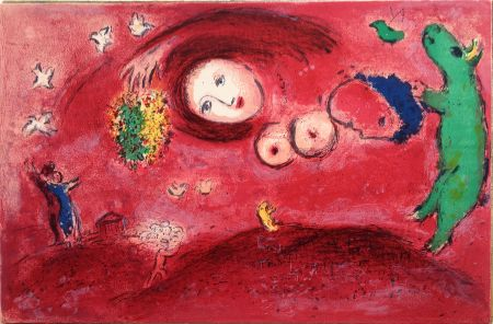 Lithographie Chagall - PRINTEMPS AU PRÉ (de la suite Daphnis & Chloé - 1961)