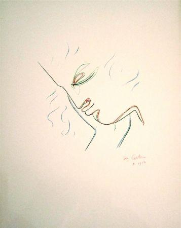 Lithographie Cocteau - Profil de garcon en couleur