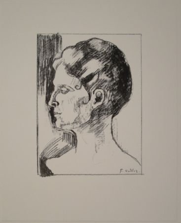 Lithographie Hodler - Profilbildnis von Frau Hodler.