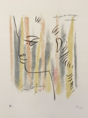 Lithographie Cocteau - Profile in Yellow, Pink, and Green