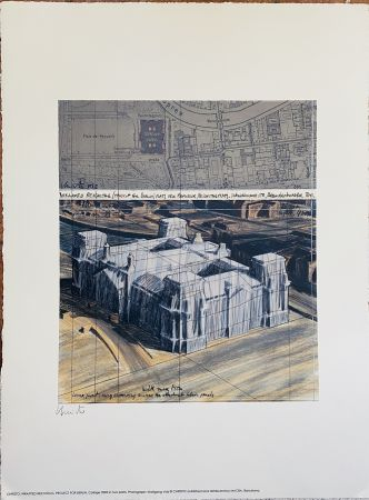Lithographie Christo - Project pour Reichstag Wrapped