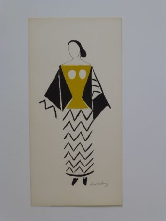 Lithographie Delaunay - Projet de costume
