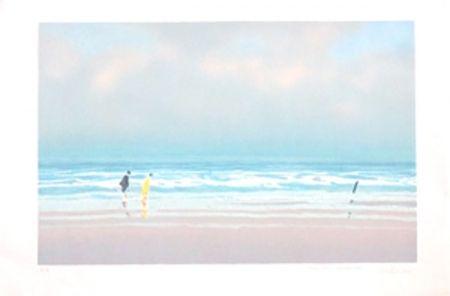 Lithographie Doutreleau - Promenade a la plage