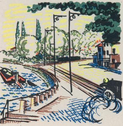 Livre Illustré Laboureur - Promenade avec Gabrielle. Texte et images lithographiés en couleurs par Jean Giraudoux et Jean-Emile Laboureur.