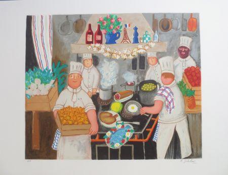 Lithographie Jirlow - Promenade culinaire a PARIS