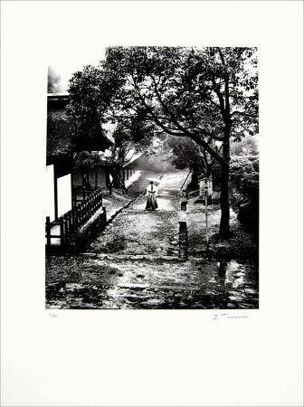 Lithographie Tourenne - Promenade dans la brume - Japon