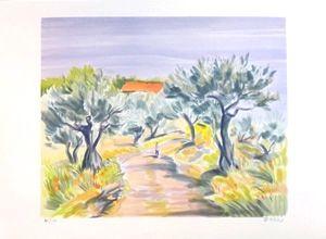 Lithographie Zarou - Promenade matinale