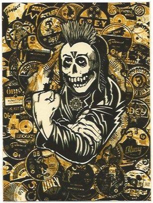 Sérigraphie Fairey - Psycho Posse Gold