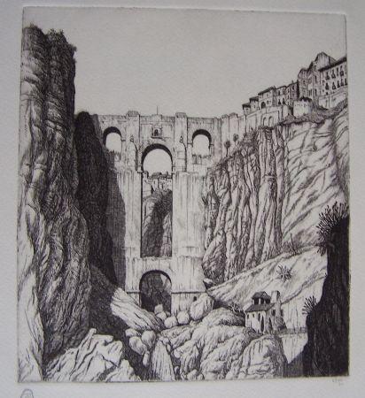 Gravure Strang - Puente Nuevo, Ronda, Spain