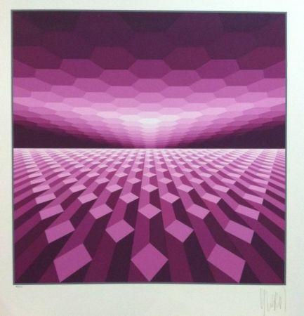 Sérigraphie Yvaral - Purple horizon
