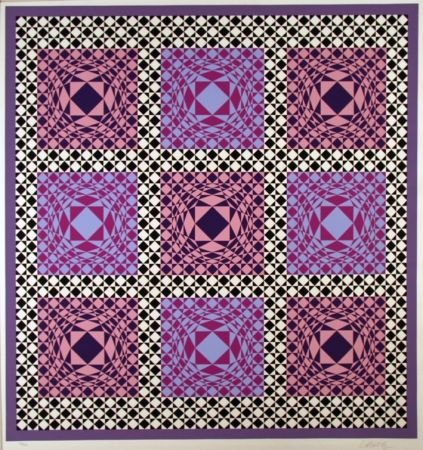 Multiple Vasarely - Purple squares