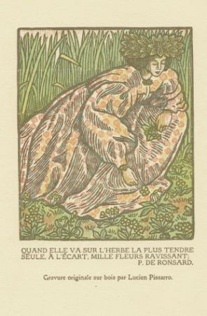 Gravure Sur Bois Pissarro - Quand elle va sur l'herbe... / Girl Picking Flowers