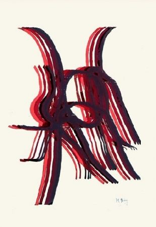 Lithographie Bury - Quatre bâtons entre deux