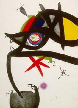 Eau-Forte Et Aquatinte Miró - Quatre Colors Aparien El Món, Plate Iv