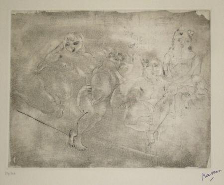 Aquatinte Pascin - Quatre femmes au divan