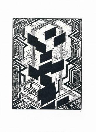 Gravure Sur Bois Kupka - Quatre histoires de blanc et de noir.