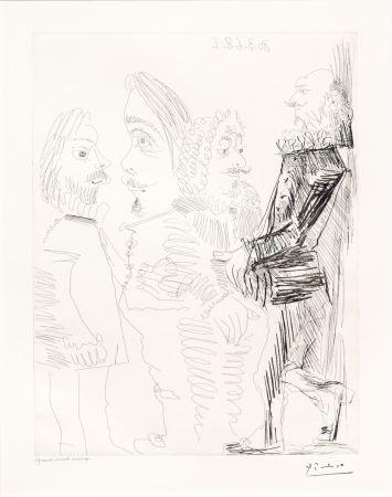 Gravure Picasso - Quatre Hommes en Costume