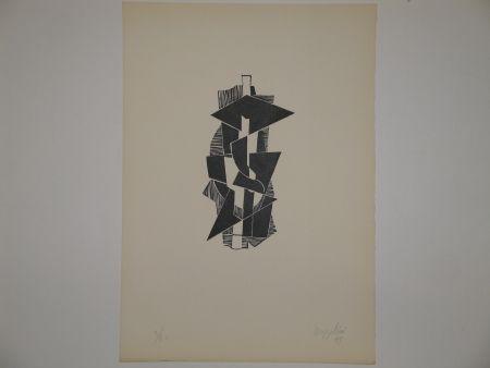 Linogravure Bozzolini - Quatre piraine