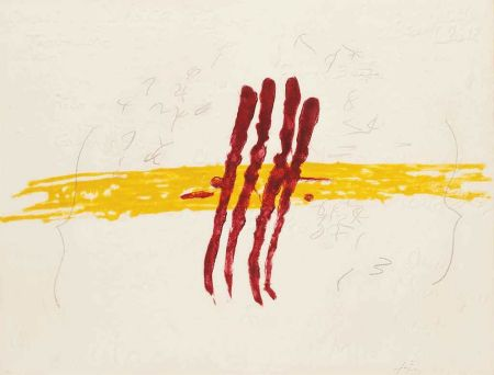 Gravure Tàpies - Quatre rius de sang