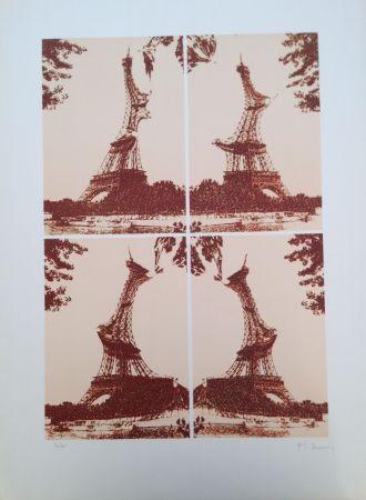 Lithographie Bury - Quatre tours Eiffel juxtaposées