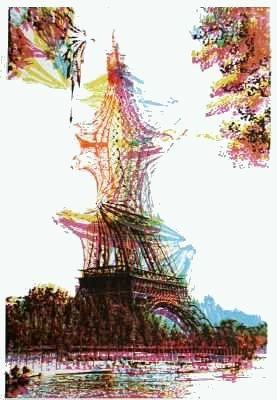 Lithographie Bury - Quatre tours Eiffel superposées