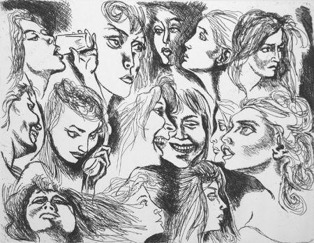 Eau-Forte Guttuso - Quattordici volti femminili