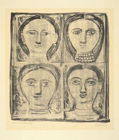 Lithographie Campigli - QUATTRO TESTE, 1942