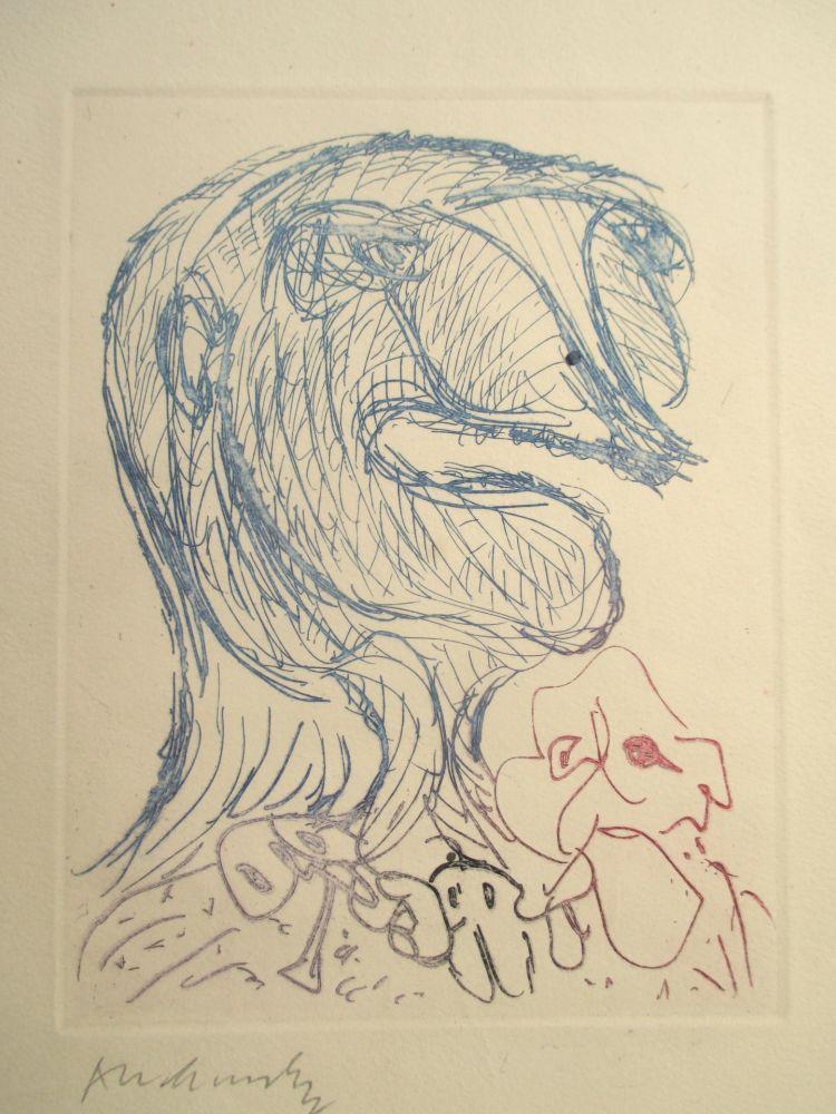 Gravure Alechinsky - Quelques vieilles lignes X