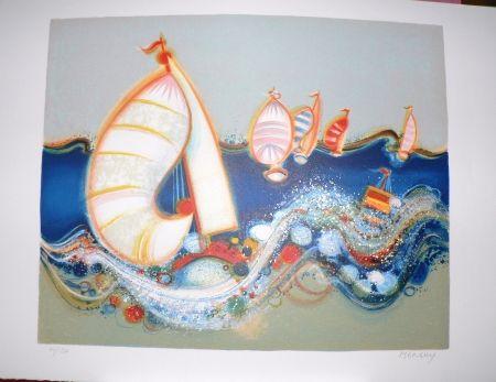 Lithographie Menguy - Régate II