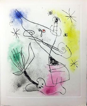Livre Illustré Miró - R. Crevel : FEUILLES ÉPARSES (Avec 14 gravures de Arp, Giacometti, Ernst, Man Ray, Masson, etc.) 1965.