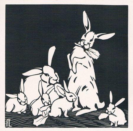 Gravure Sur Bois Lang - Rabbits