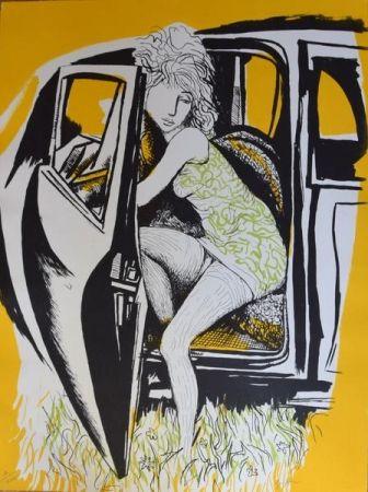 Lithographie Guttuso - Ragazza che scende dall'auto