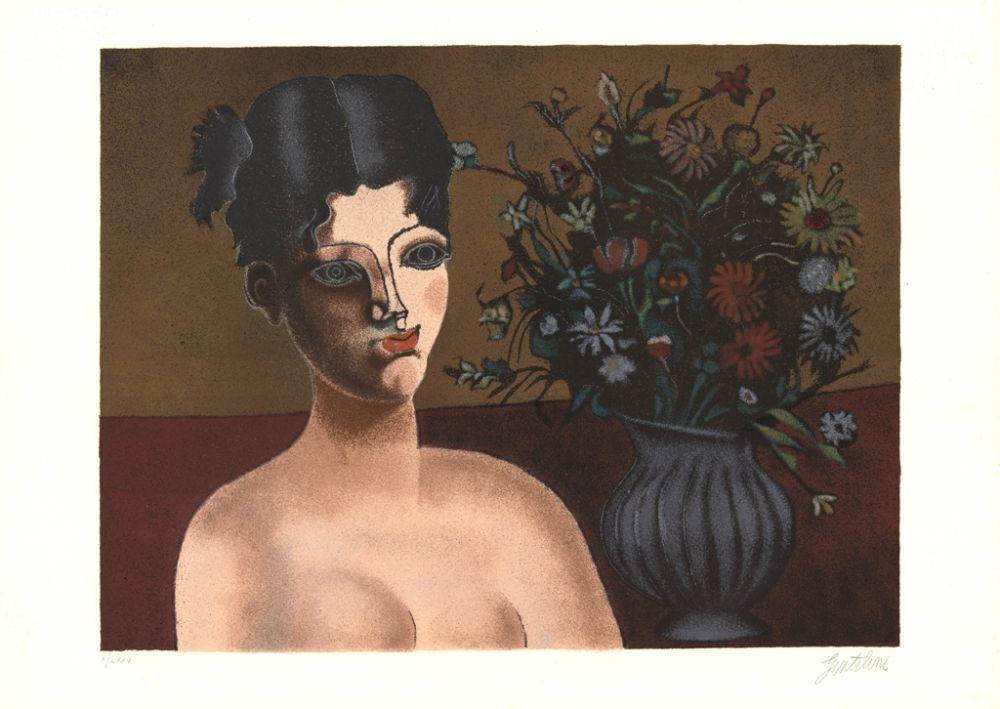 Lithographie Gentilini - Ragazza con vaso di fiori