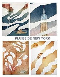 Eau-Forte Et Aquatinte Folon - Rains of New York - Pluies de New York (complet suite)