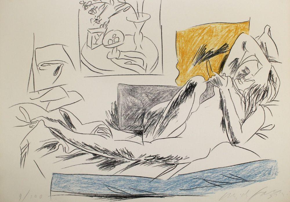 Lithographie Fazzini - Reading Nude