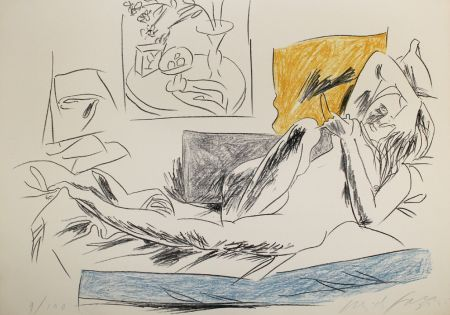 Lithographie Fazzini - Reading Nude