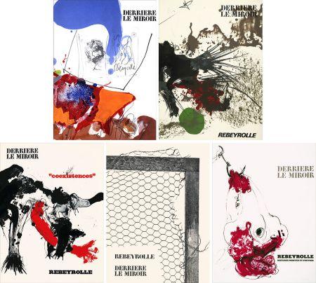 Livre Illustré Rebeyrolle - REBEYROLLE : Collection complète des 5 volumes de la revue DERRIÈRE LE MIROIR consacrés à Paul Rebeyrolle (parus de 1967 à 1976). 32 LITHOGRAPHIES ORIGINALES.